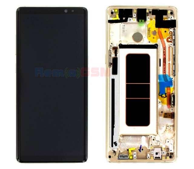 inlocuire display cu touchscreen si rama samsung sm-n950f galaxy note 8 gold oem gh97-21065d
