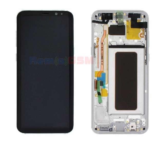 display cu touchscreen si rama samsung sm-g955f galaxy s8 plus silver oem gh97-20470b
