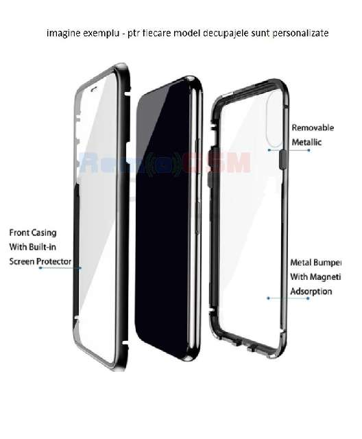 husa iphone xs max magnetic 360 full body  negru