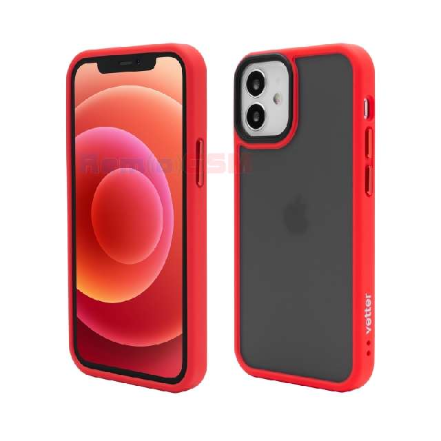 husa vetter iphone 12 mini clip-on hybrid shockproof soft edge and rigid matte back cover red