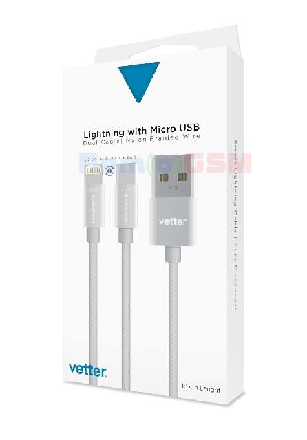 cablu de date incarcare vetter dual lightning micro usb nylon braided wire 1m grey