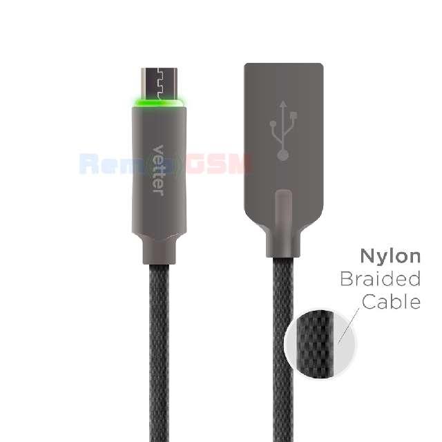 cablu de date incarcare vetter smart micro usb auto disconnect led status indicator 12m black