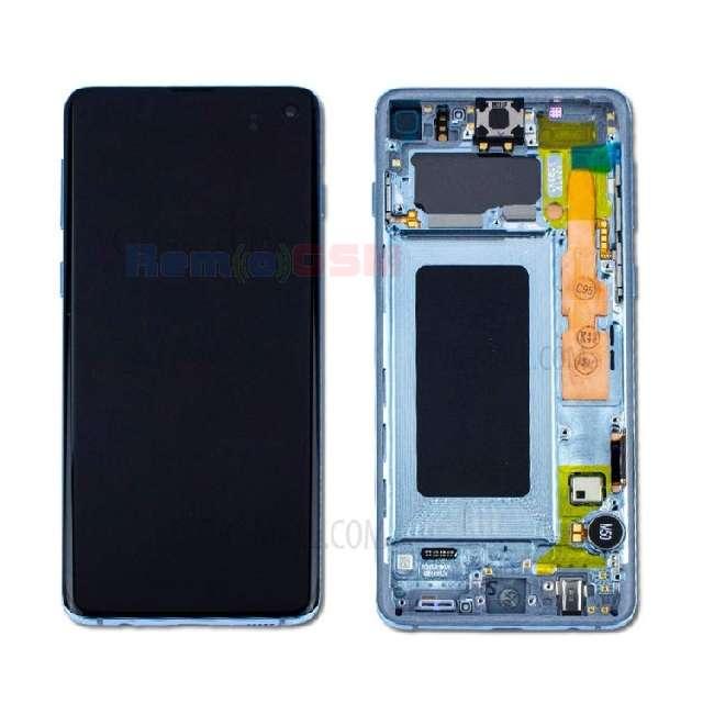 inlocuire display cu touchscreen si rama samsung sm-g973f galaxy s10 albastru oem