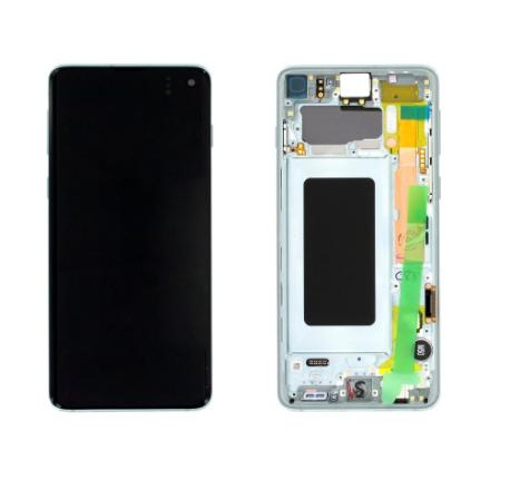 inlocuire display cu touchscreen si rama samsung sm-g973f galaxy s10 verde oem