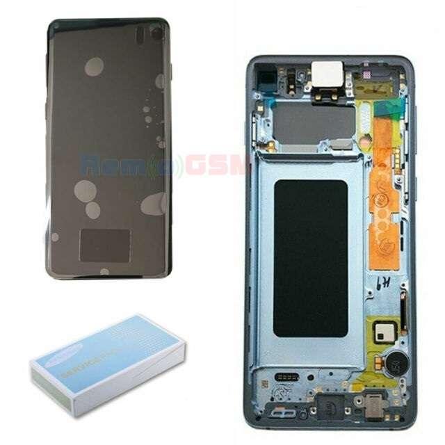 inlocuire display cu touchscreen si rama samsung sm-g975f galaxy s10 plus albastru oem
