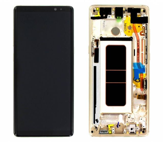inlocuire display cu touchscreen si rama samsung sm-n950f galaxy note 8 gold gh97-21065d