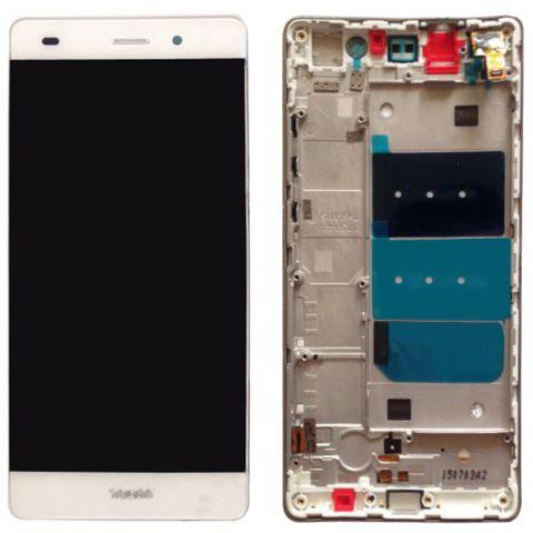 inlocuire display cu touchscreen si rama huawei p8 lite ale-l21 alb