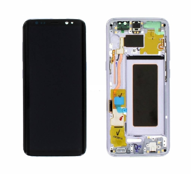 inlocuire  display cu touchscreen si rama samsung galaxy s8 g950f blue gh97-20457d