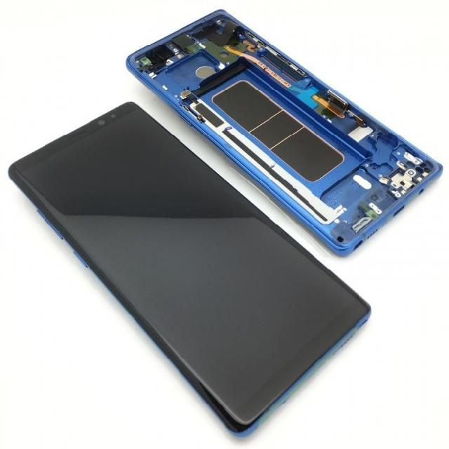 inlocuire display cu touchscreen si rama samsung sm-n950f galaxy note 8 blue gh97-21065b