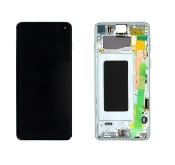 inlocuire display cu touchscreen si rama samsung sm-g973f galaxy s10 original verde oem